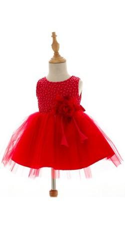 Red Net Beautiful Frock For Little Girl BP0353