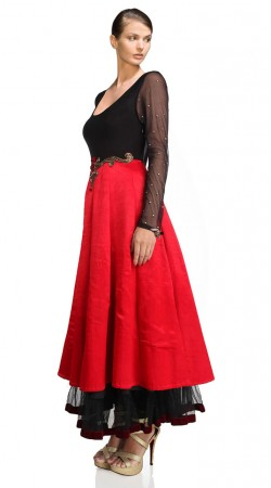 Red Net Dual Layered Anarkali Suit SU2801