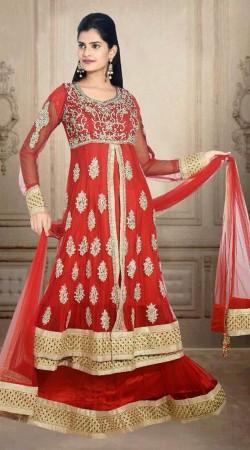 Red Net Embroidered Wedding Long Choli Lehenga With Dupatta DT900934