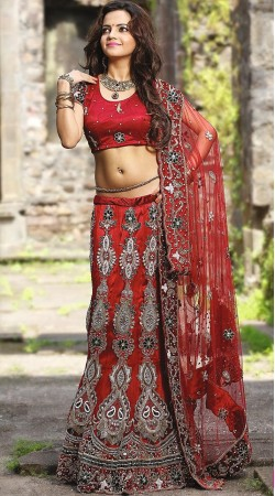 Red Net Lehenga Choli LD002103