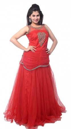Red Net Long Indowestern Gown