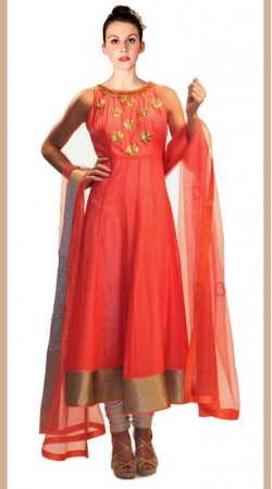 Red Net Long Length Anarkali Suit SU3801