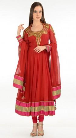 Red Net Long Length Anarkali Suit SU5601