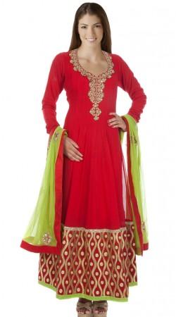 Red Net Party Wear Salwar Kameez With Lime Green Dupatta SUMA2309