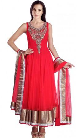 Red Net Readymade Plus Size Salwar Kameez With Dupatta SU16110