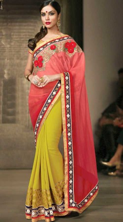 Red Party Wear Saree With Mehendi Green Palla MS935237
