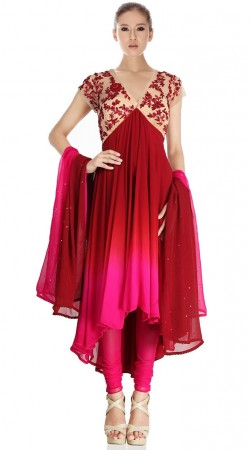 Red Pure Georgette Long Tail Anarkali Suit SU5501