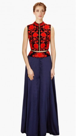 Red Resham Embroidered Blue Silk Front Zip Top With Palazzo Pant