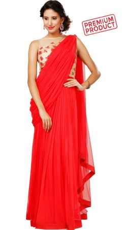 Red Saree Gown With Embroidery Work BP0946