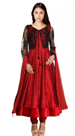 Red Silk Black Short Net Koti Style Party Wear Salwar Kameez SU22111