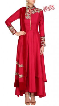 Red Silk Designer Double Layered Anarkali Suit SUMS27421
