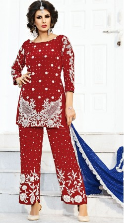 Red Silk Designer Palazzo Pant Suit With Contrast Dupatta BP900831