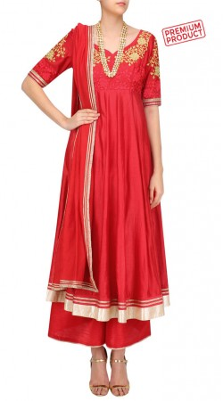 Red Silk Long Length Anarkali With Palazzo Pant SUMS29621