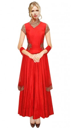 Red Silk Neck Embroidered Long Anarkali Suit With Dupatta SUUDS31004
