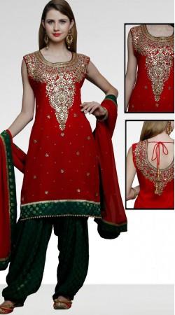 Red Silk Patiala Salwar Kameez With Matching Dupatta DT11361