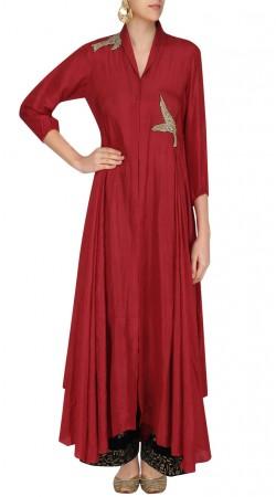 Red Silk Stylish Long Kurti SUUDK18522