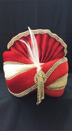 Red Stone Work Velvet Wedding Turban For Groom DTT635