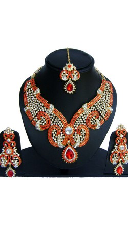 Red Stones Work Party Wear Necklace Set NNP74002