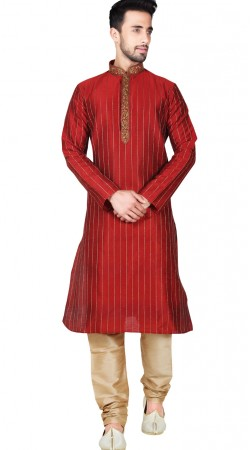 Red Synthetic Embroidery Work Kurta Pajama GR147615