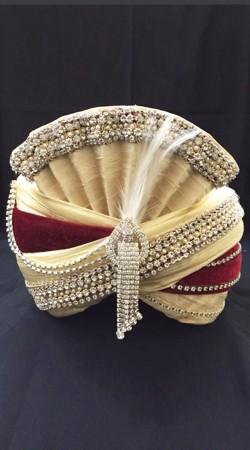 Red Velvet Cream Georgette Wedding Turban For Groom DTT1135