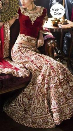 Red Velvet Embroidered Replica Bridal Lehenga Choli With Dupatta SMDS00I