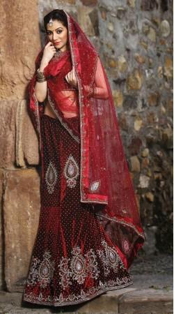 Red Velvet Lehenga Choli LD005203