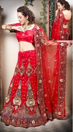 Red velvet Semi Bridal Lehenga Choli With Gold Zari Embroidered Dupatta LD003105