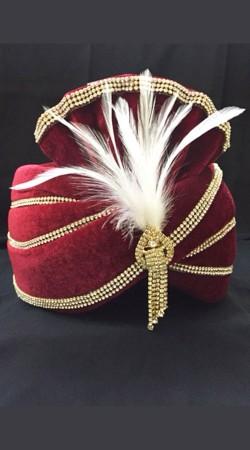 Red Velvet Stone Work Wedding Turban For Groom DTT235