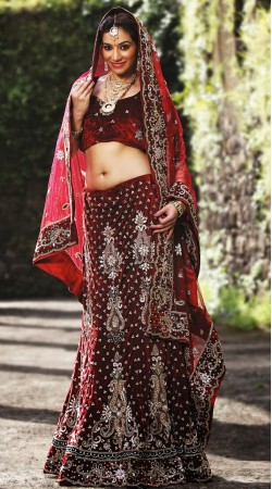 Reddish Maroon Velvet Lehenga Choli LD001103