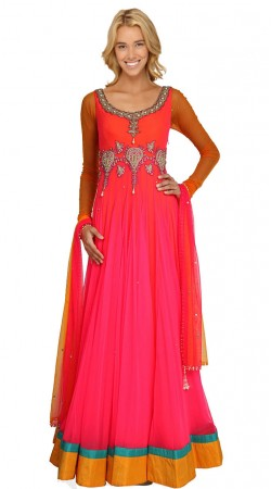 Reddish Pink Georgette Floor Length Anarkali Suit SU10301