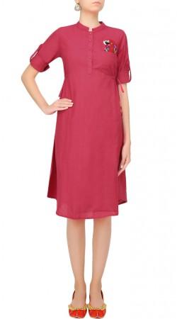Reddish Pink Silk Knee Length Tunic SUUDK21623