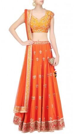 Remarkable Design Coralish Orange Silk Designer Lehenga Choli SUUDL24219