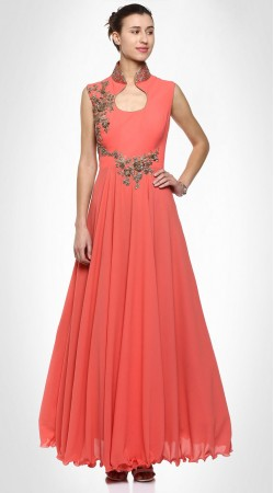 Remarkable Design Salmon Peach Georgette Designer Gown Style Kameez SUMS25617