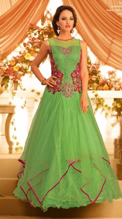 Resham Embroidered Lime Green Net Floor Touch Designer Indowestern Gown BR105491