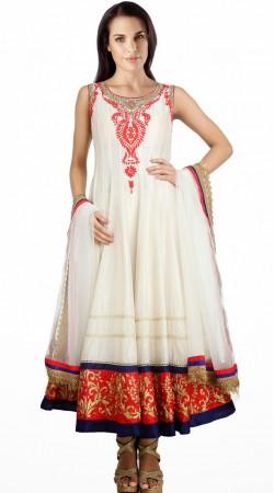 Resham Embroidered White Silk Readymade Plus Size Salwar Kameez SU15610