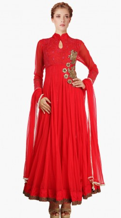 Resham Embroidered Yoke Red Net Indo Western Salwar Kameez SU22611