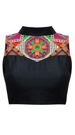 Resham Work Black Premium Fabric Designer Blouse For Saree BP1009