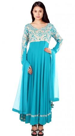 Resham Work Light Blue Georgette Readymade Plus Size Salwar Kameez SU17010