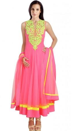 Resham Work Light Pink Net Readymade Ready Made Salwar Kameez SU18710