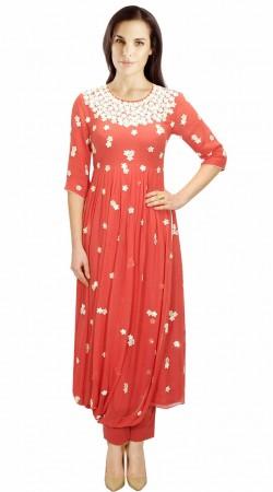 Resham Work Pink Georgette Indo Western Salwar Kameez SUMA1709