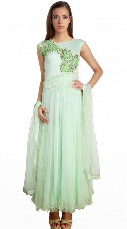 Resham Work Sea Green Net Embroidered Suit With Dupatta SU21511