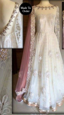 Resham Work White Net Replica Floor Length Anarkali Suit SMDS0DD