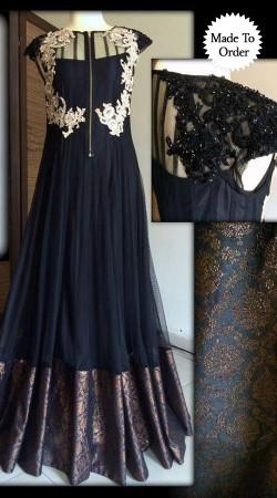 Resham Work Yoke Black Net Replica Floor Length Anarkali Suit SMDS00Z