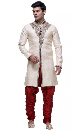 Rich Look Off White Brocade Designer Front Slit Sherwani With Breeches Pant GR131104