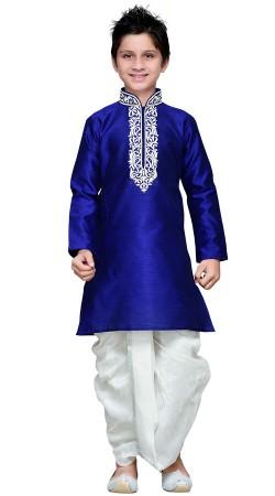 Royal Blue Art Silk Boy Kid Dhoti Kurta GR15712