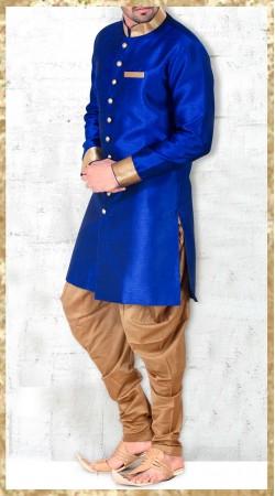 Royal Blue Banarasi Silk Indo Western Kurta With Jodhpuri Pant 2MV1994021