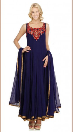 Royal Blue Net Ankle Length Anarkali Suit SU2601