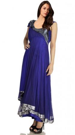 Royal Blue Net Long Tail Anarkali Suit SU201