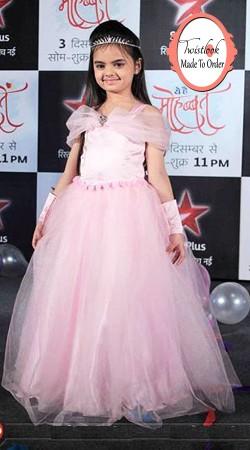Little T.V Actress Ruhi In Light Pink Net Princess Gown BP0613