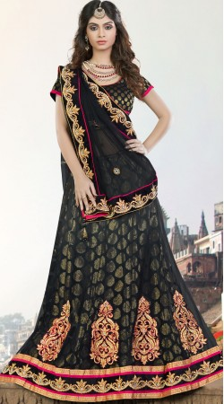 Ruritanian Net Black Designer Lehenga With Brocade Choli MS690728